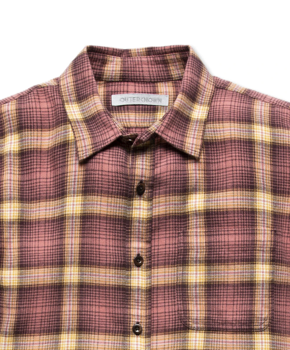 Outerknown Transitional Flannel Shirt - Mineral Red Marin Plaid