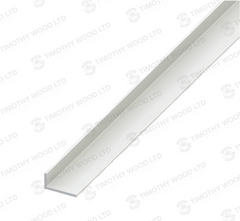 Alfer Unequal Sided Angle Edging Corner Furniture Protection Profile Trim - White PVC Plastic