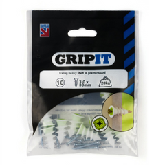 GripIt TWIST10 TwistIt Self Drive Plasterboard Fixings for Stud Walls 10 Pack - 3.0 x 30mm