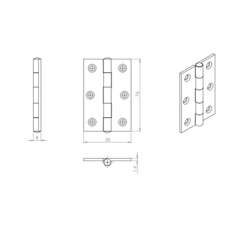 "Carlisle Brass HINFP1 Fixed Pin Butt Hinges 3"" - Black"