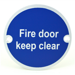 Fire Door Keep Clear Writing SP75/11 Round Metal Exit Emergency Door Sign Disc Signage 75mm