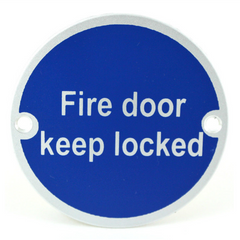 Fire Door Keep Locked Writing FDKL SP75/12 Round Metal Exit Emergency Door Sign Disc Signage 75mm