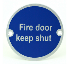 Fire Door Keep Shut Writing FDKS SP75/10 Round Metal Exit Emergency Door Sign Disc Signage 75mm