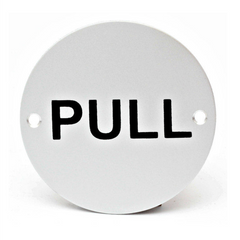 Round Metal Pull Writing Door Sign Disc Signage 75mm