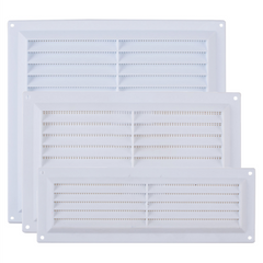 Rytons Plastic Louvre Ventilator Grille Air Ventilation Cover with Flyscreen - White