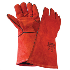Scan SCAGLOWELRED Red Leather Welding Gauntlets Work Safety Gloves - Large (Size 9)