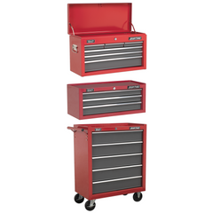 Sealey AP2201BB + AP22309BB + AP22505BB 14 Drawer American Pro Top Chest, Add-On & Roller Cabinet Tool Box Combination with Ball Bearing Slides - Red & Grey