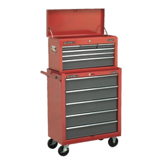 Sealey AP2201BB AP22505BB 11 Drawer American Pro Top Chest & Roller Cabinet Tool Box Combination with Ball Bearing Slides - Red & Grey