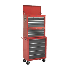 Sealey AP22509BB AP22309BB AP22505BB 17 Drawer American Pro Top Chest Add-On & Roller Cabinet Tool Box Combination with Ball Bearing Slides Red Grey