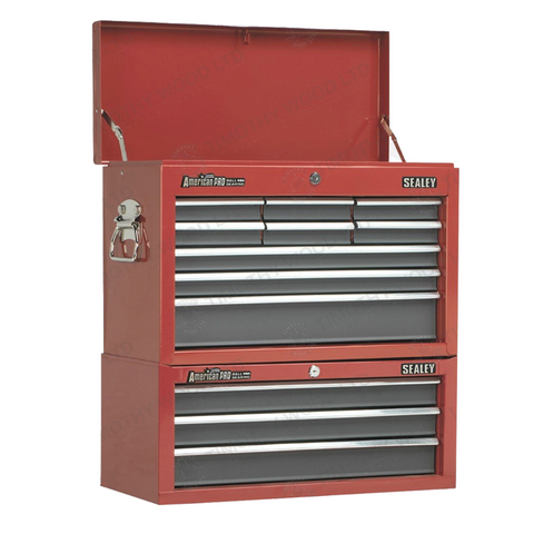 Sealey 12 Drawer Top Chest & Add-On Tool Box Combination - Red/Grey