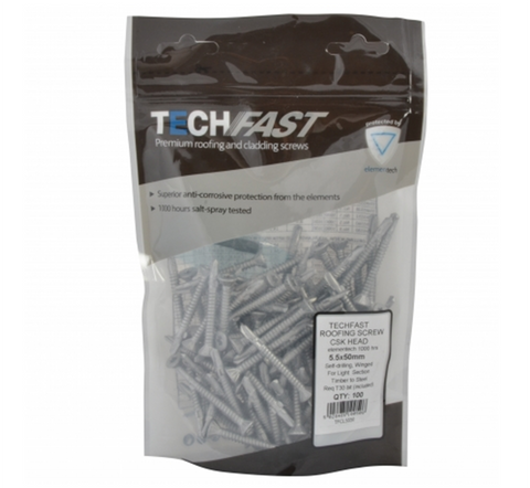 TechFast Countersunk Roofing Screw - Timber to Steel 100 Pack