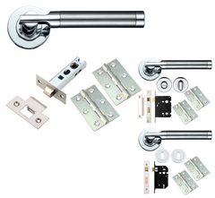 Timothy Wood Limited TW2000 Internal Door Handle Furniture Packs Lever on Rose - Dual Polished & Satin Chrome
