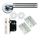 TW2000 Lever Door Handle Latch Pack with Steel Butt Hinges - Satin/Polished Chrome