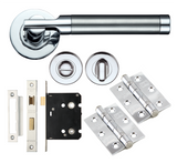 TW2000 Internal Designer Door Handle Fire Rated Packs on Rose - Satin/Polished Chrome