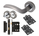Vision Auva Designer Lever Door Handle Packs with Ball Bearing Hinges