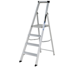 Youngman 3041218 Aluminium Heavy Duty Professional Class 1 Builders Platform Stepladder EN131 - 4 Tread 2.60m
