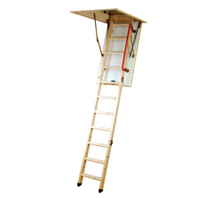 Youngman 345345 Eco S Line Timber Wooden 3 Section Folding Loft Attic Access Ladder with Insulation Hatch EN14975