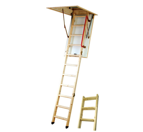 Youngman 34535 Eco S Line 3-Section Timber Loft Ladder with Hatch