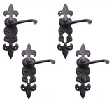 Zoo Foxcote Foundries Fleur De Lys Lever Door Handle on Backplate - Black Antique