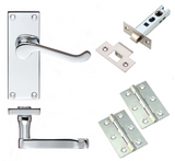 Victorian Scroll Door Handle Packs Lever on Backplate - Polished Chrome