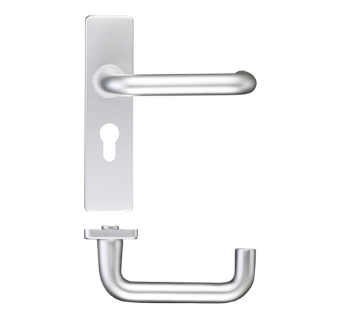 Zoo ZAA Return to Door Lever on Backplate Door Handle - Satin Aluminium