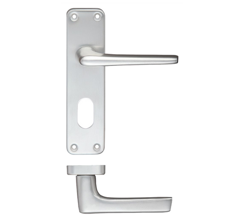 Zoo ZCA Contract Lever Door Handle on Backplate - Satin Aluminium