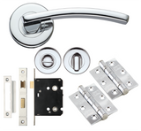 Toledo Internal Door Handle Fire Rated Packs on Rose