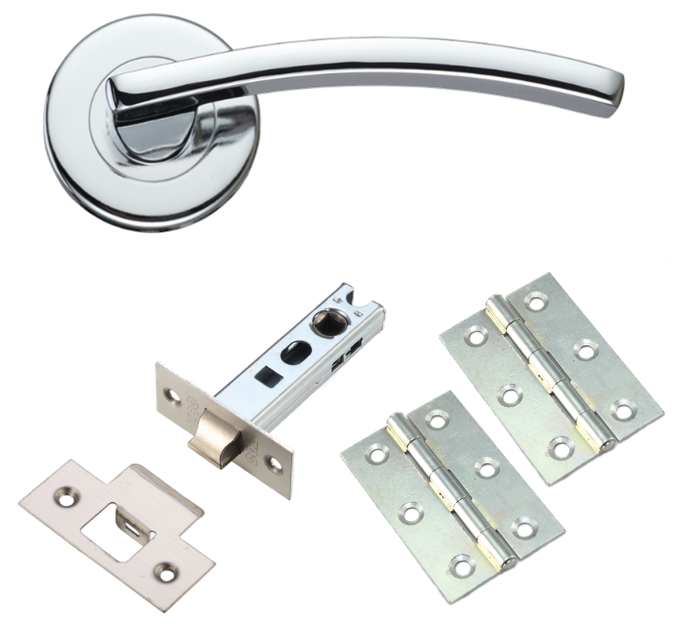 Toledo Door handle Lever on Rose Polished Chrome High Quality Hinges and latches