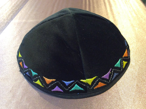 Black Velvet Embroidered Kippa Yarmulka