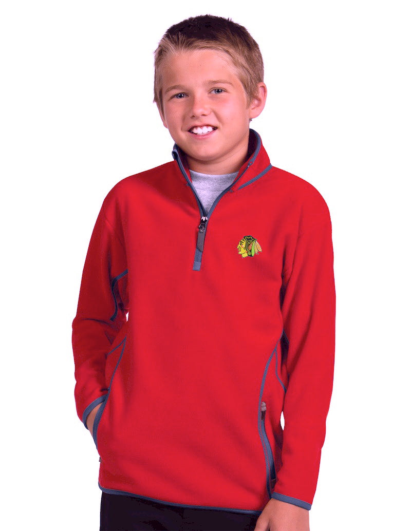 Antigua Chicago Blackhawks Youth Ice 1/4 Zip Pullover