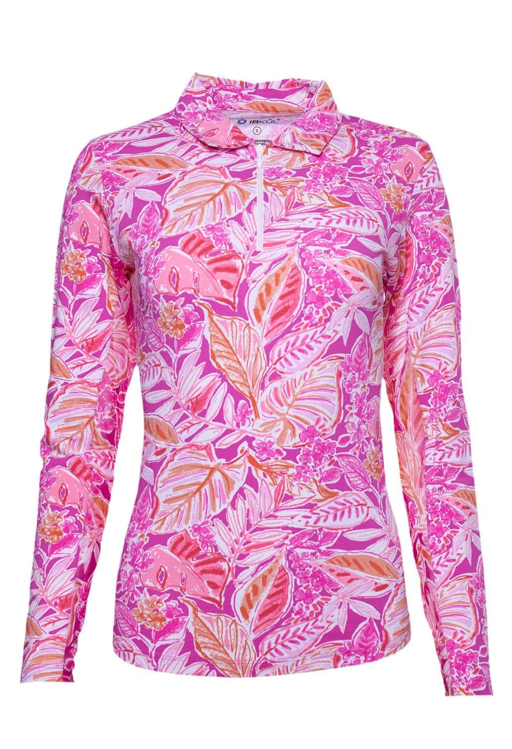 IBKUL Womens Casey Print Long Sleeve Polo