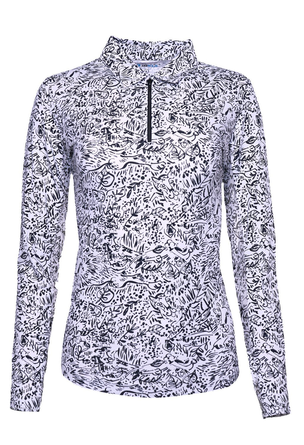 IBKUL Womens Leo Print Long Sleeve Polo