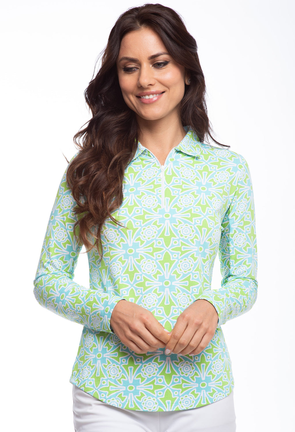 IBKUL Womens Moroccan Tile Print Long Sleeve Polo 41514