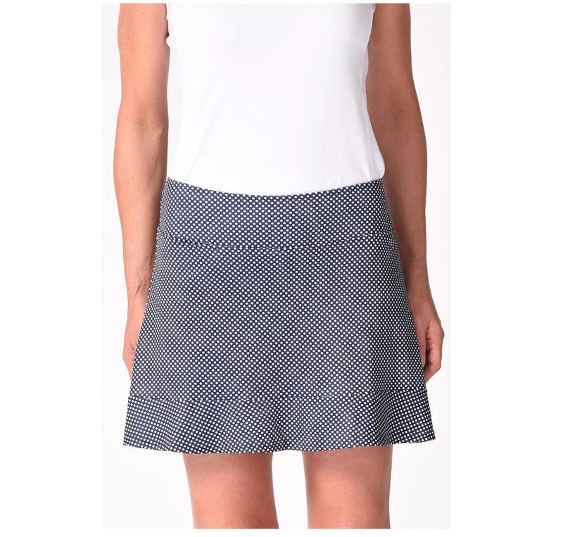 Golftini Putt Putt Pull-On Ruffle Tech Skort Navy/White Polka Dot