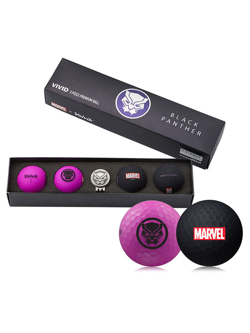 Volvik Marvel X Limited Edition Black Panther Matte Golf Balls w/ Hat Clip