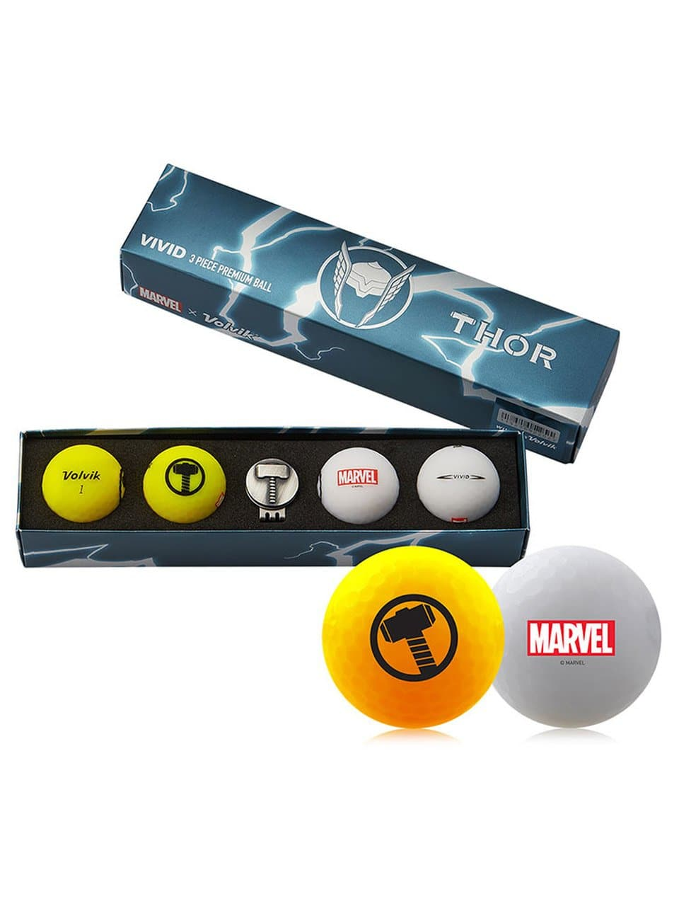 Volvik Marvel X Limited Edition Thor Matte Golf Balls w/ Hat Clip