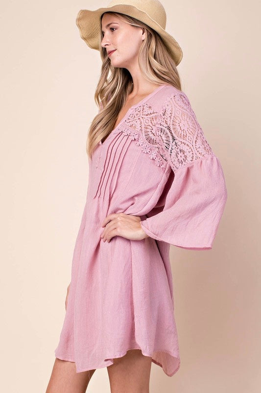 Tickled Pink Shirt Dress