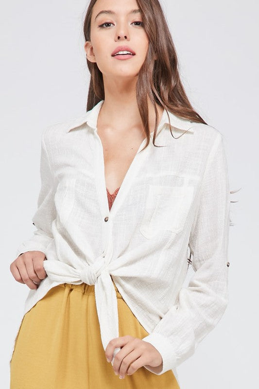 Chi City Button Down Top (ivory)