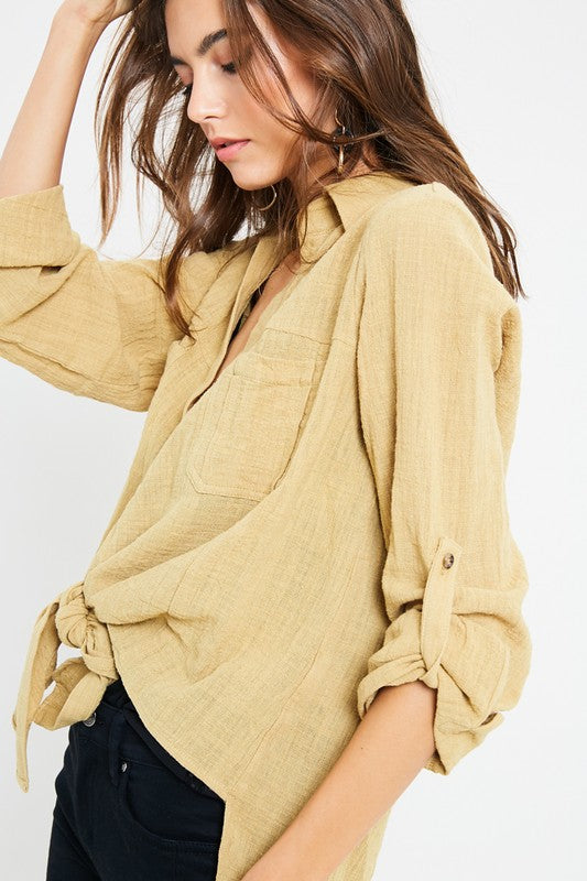 Chi City Button Down Top (mustard)