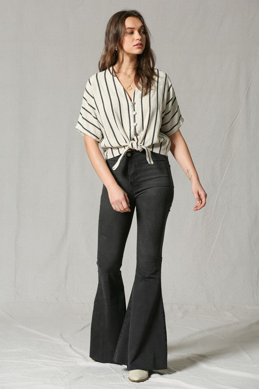 Walk The Line Tie Front Top