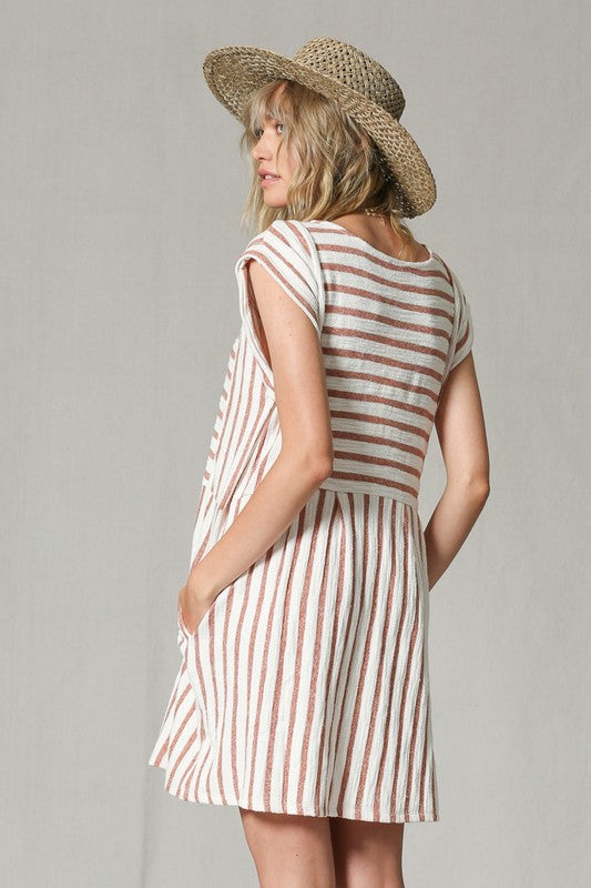 Leisurely Linen Striped Dress (camel)