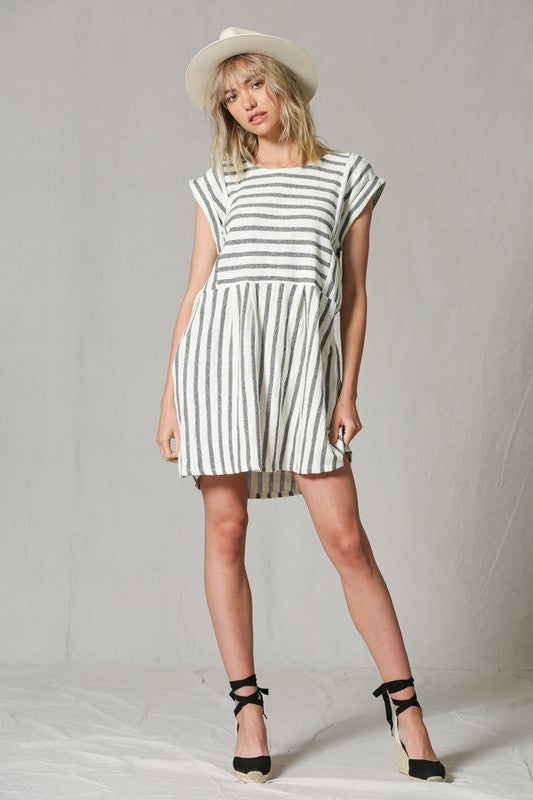 Leisurely Linen Stripe Dress(Navy)