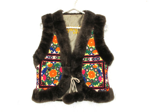 Short Ethnic Vest Earth - size S