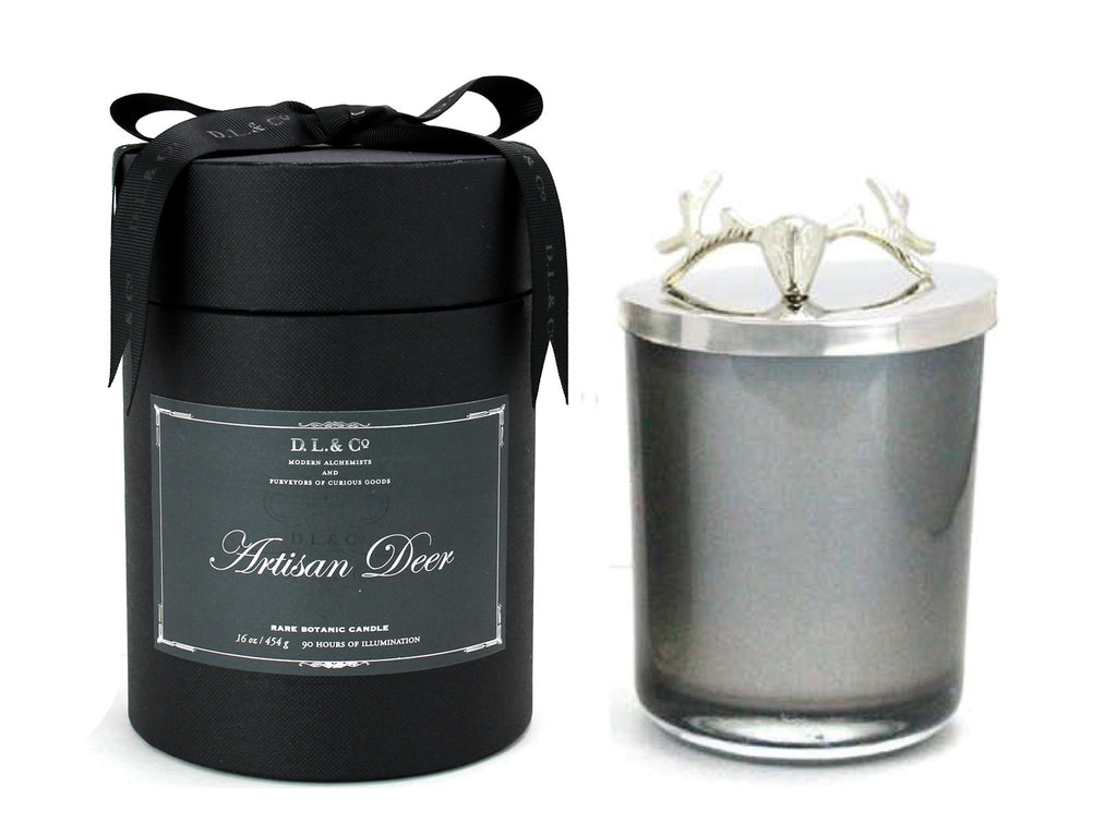 Large luxurious Artisan Deer Candle housed in a pearlised glass tumbler