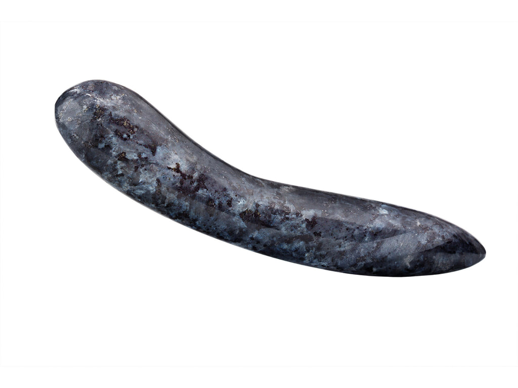 Polished Blue Pearl Larvikite from Norway (also known as Black Norwegian Moonstone) Dildo.