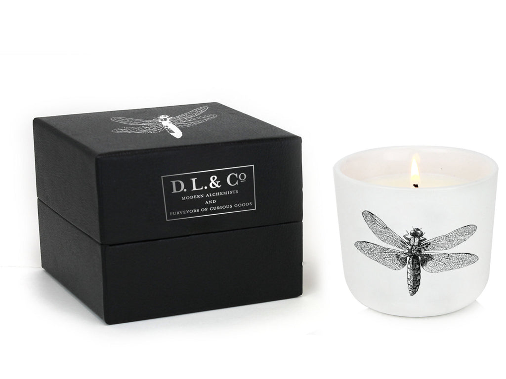 Beautiful DL&Co candle with a dragonfly motif from Velvet Fleur