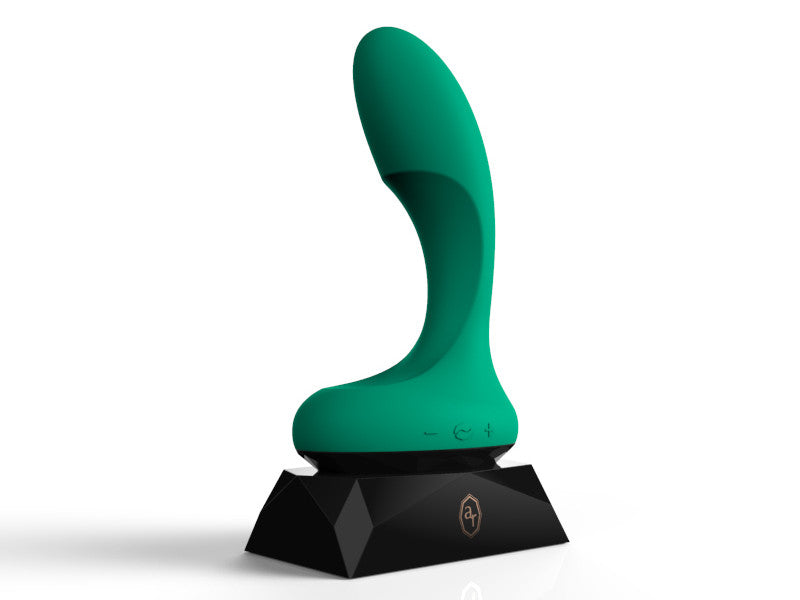 L'amourose Rosa g-spot and clitirol vibrator in supersoft emeral green silicone