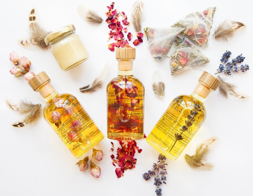 A Massage Oil Gift Box Set with 3 beautiful oils from Lolas Apothecary