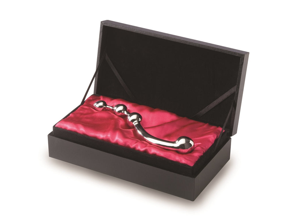NJoy Fun Wand - Stainless Steel his and hers dildo. Shown in beautiful gift box.