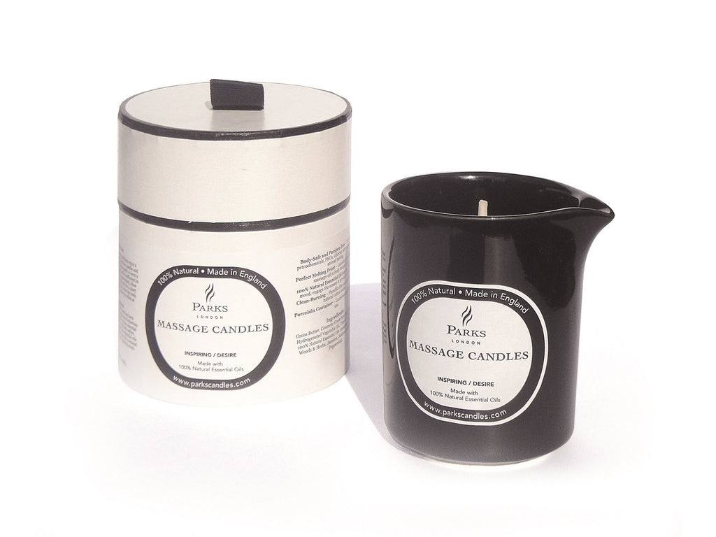 Pouring massage candle, fragranced with Precious Woods & Jasmine - brought to you by Velvet Fleur